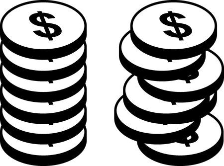 Icon set - Piles of dollar coins - Vector Vecteurs
