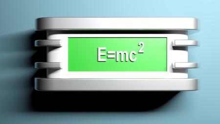E=mc2 green wall lamp - 3D rendering