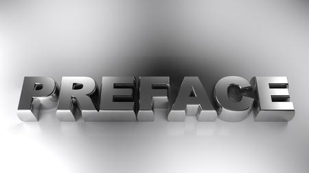 PREFACE chromed write on white surface - 3D rendering