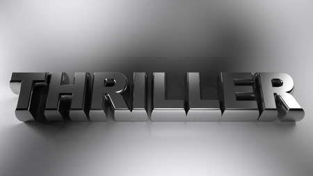 THRILLER metallic chrome on white background - 3D rendering