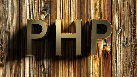 PHP brass write on wooden background - 3D rendering