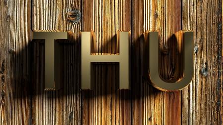 THU brass write on raw wood - 3D rendering