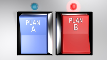 Selection between plan A and plan B - 3D rendering