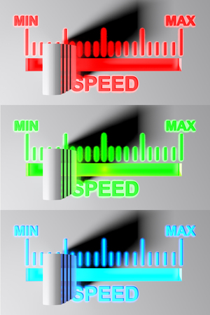 Level selector for SPEED - 1st pos - 3D rendering Banque d'images
