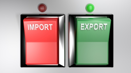 IMPORT - EXPORT switches - Both selected - 3d rendering Stockfoto