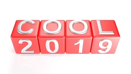 COOL 2019 on red cubes - 3D rendering