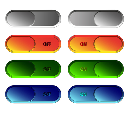Set of sliding buttons ON - OFF. Vector