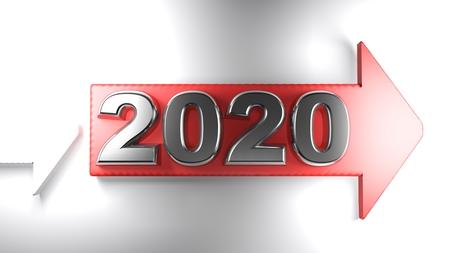 2020 on a red arrow - 3D rendering Archivio Fotografico