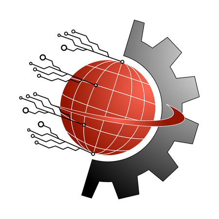 Logo global electronic and mechanical  industry - vector