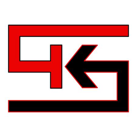 Logo K red and black on white bkg - Vector Stock Vector - 110246624