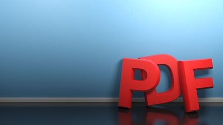PDF red at blue wall - 3D rendering