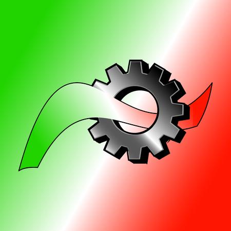 Logo Gear with italian ribbon - Vector Logo