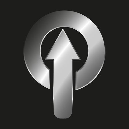 Icon metallic arrow entering in a metallic circle - Vector