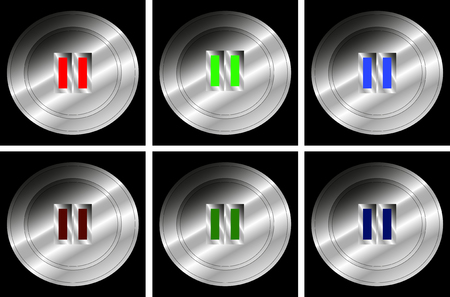 Set of push buttons for Pause - Vector Illustration