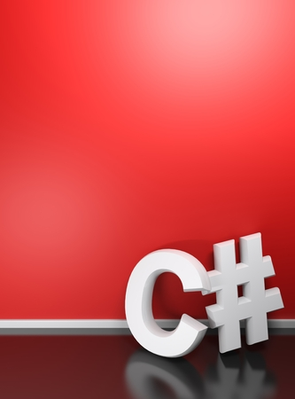 C# white write at red wall - 3D rendering
