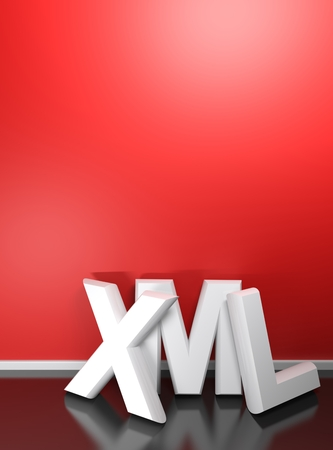 XML white 3D write at red wall - Book cover - 3D rendering