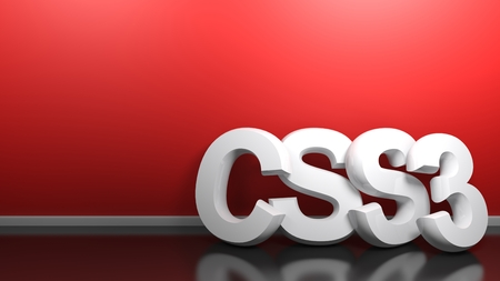 CSS3 white 3D write at red wall - 3D rendering