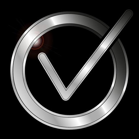 Icon Metallic Checkmark isolated on black background - Vector Çizim
