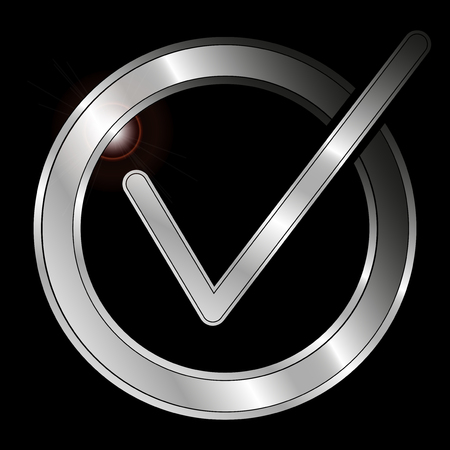 Icon Metallic Checkmark isolated on black background - Vector Illustration