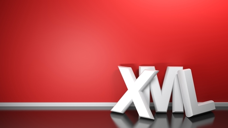 XML white 3D write at red wall- 3D rendering 写真素材