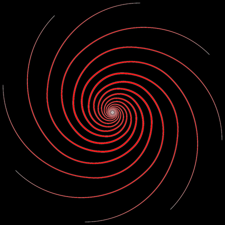 Abstract red spiral icon on black background - Vector