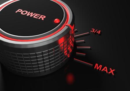 Power knob set on maximum level - 3D rendering illustration Stock Photo