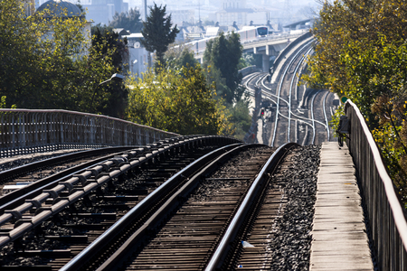 Looking to the railway system of the metro of Izmir (Turkey) - photography