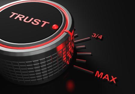 TRUST knob set to maximum level - 3D rendering illustration Stock Photo