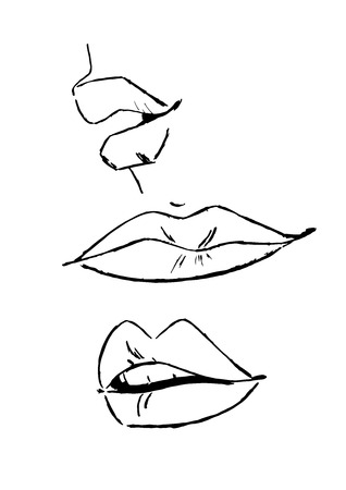 Set of sketched womans lips - Vector Ilustracja