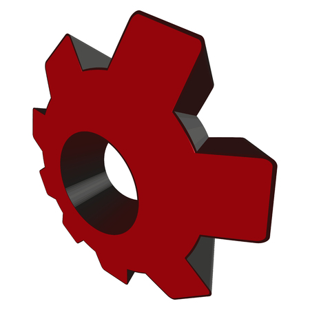 Red toothed wheel in perspective - Vector Illustration