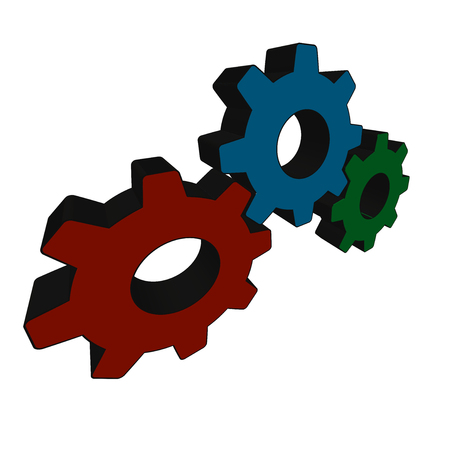 Three mating gears on white background - Vector illustration