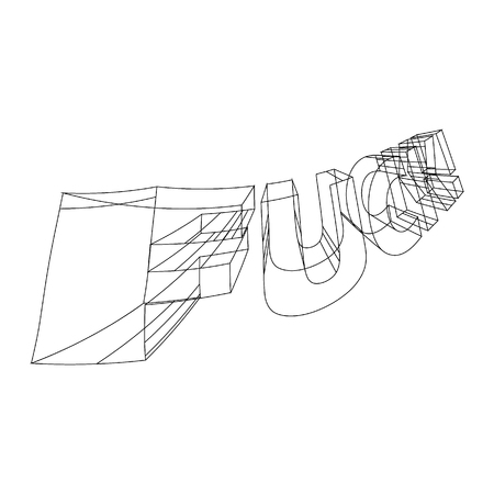 FUCK! 3D wireframed write - Vector