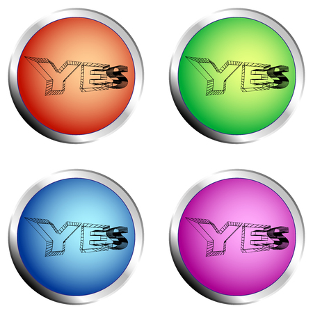 YES colored circle push button Set