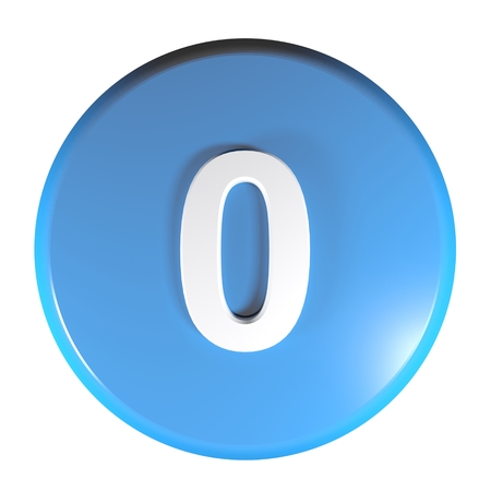 Number 0 blue circle push button - 3D rendering illustration