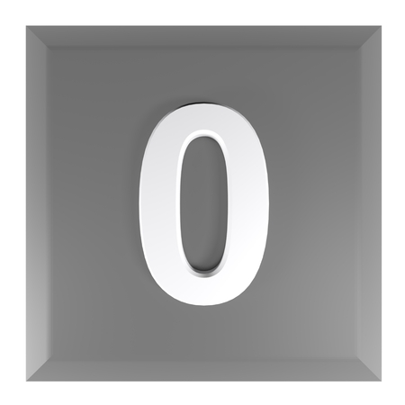 Number 0 square black push button - 3D rendering illustration Banque d'images