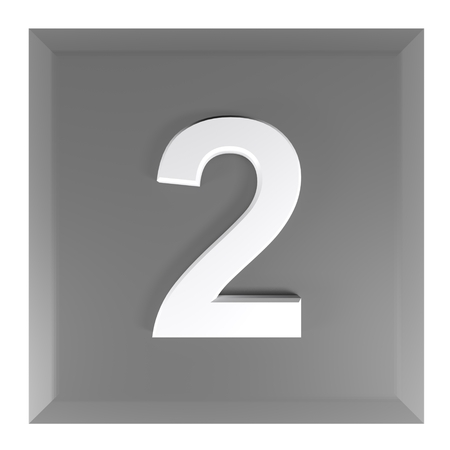 Number 2 square black push button - 3D rendering illustration