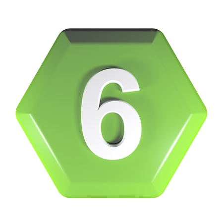 Number 6 green hexagonal push button - 3D rendering illustration