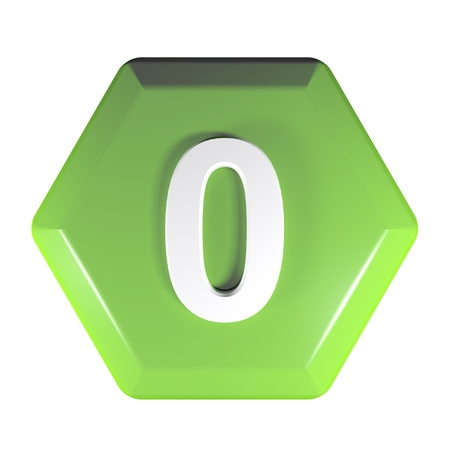 Number 0 green hexagonal push button - 3D rendering illustration