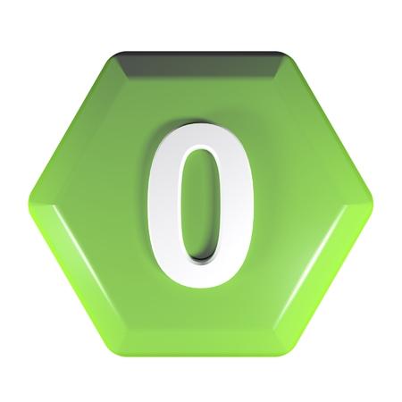 Number green hexagonal push button - 3D rendering illustration