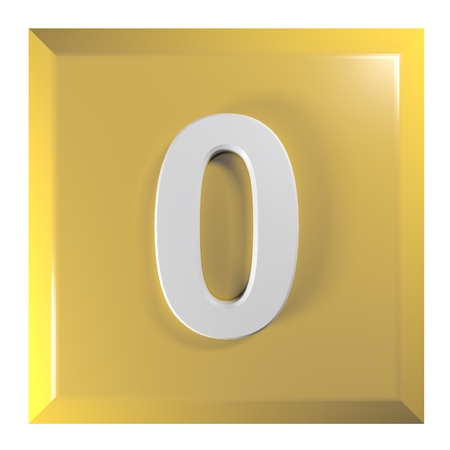 Number 0 square yellow - orange push button - 3D rendering illustration Stok Fotoğraf - 119456808