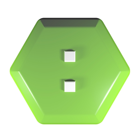 Green hexagonal push button with the sign : for the division operation - 3D rendering illustration Stockfoto