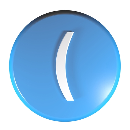 Blue circle push button with the open parenthesis symbol - 3D rendering illustration Stock Photo