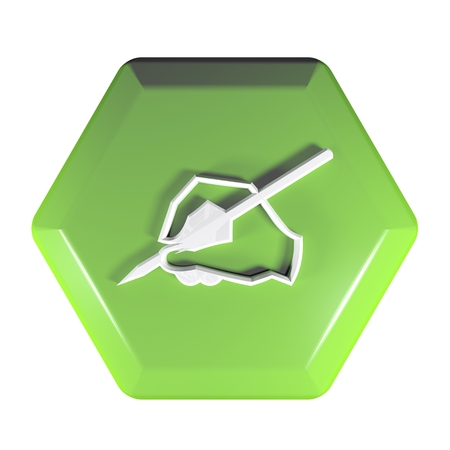 Green hexagonal push button with the icon of handwriting - 3D rendering illustration