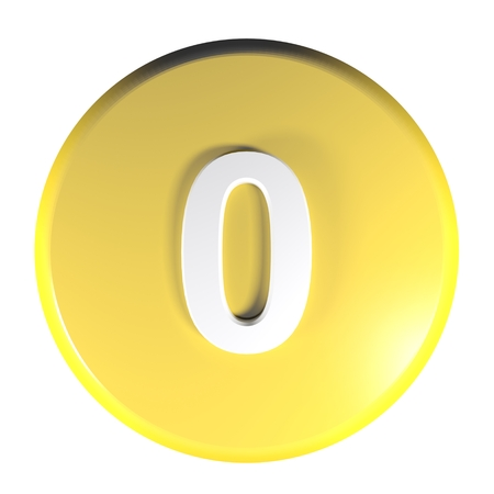 Number 0 yellow circle push button - 3D rendering illustration