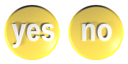 Yellow circle push buttons for YES and NO answers - 3D rendering illustration Stock Photo