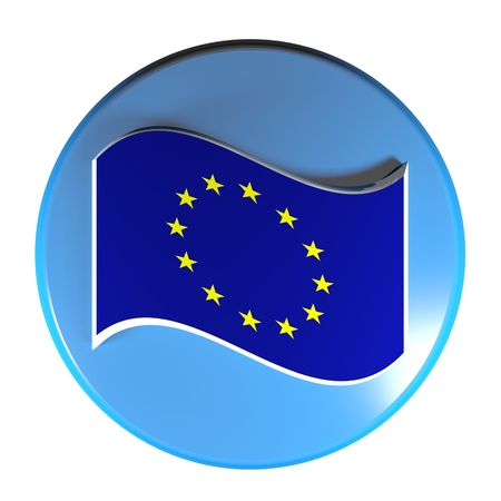 Blue circle push button European union flag - 3D rendering illustration Stok Fotoğraf