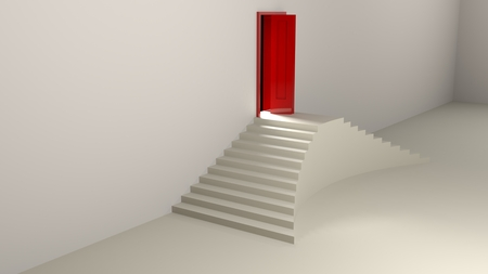 Double sided stairs going to a red door - 3D rendering illustration