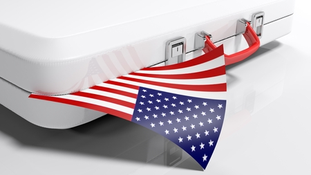 White suitecase with american flag - 3D rendering illustration