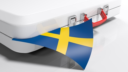 White suitecase with flag of Sweden - 3D rendering illustration