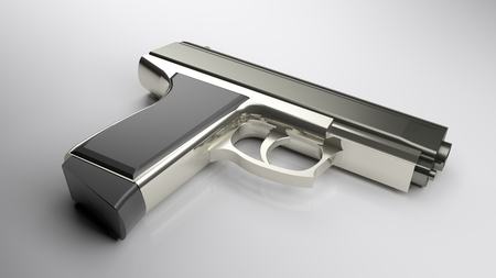 One gun laying on a white glossy table - 3D rendering illustration
